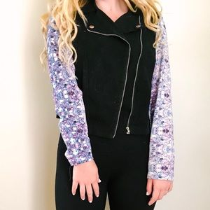Black Motto Jacket With Patterned Sleeves
